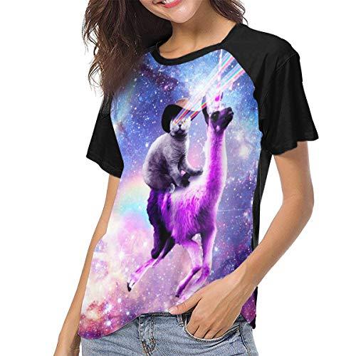 Ygoner Women's Short Sleeve T-Shirt Laser Space Cat On Llama Women's Personalized Baseball Raglan Tee T Shirts