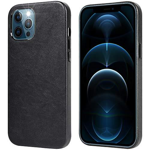 Migeec Leder Hülle Kompatibel mit iPhone 12 Pro Max Retro Slim Hard Hülle [Kompatibel mit kabellosem Laden] [Kratzfest] Ultra Soft Smooth für iPhone 12 Pro Max 6.7 Zoll - Schwarz