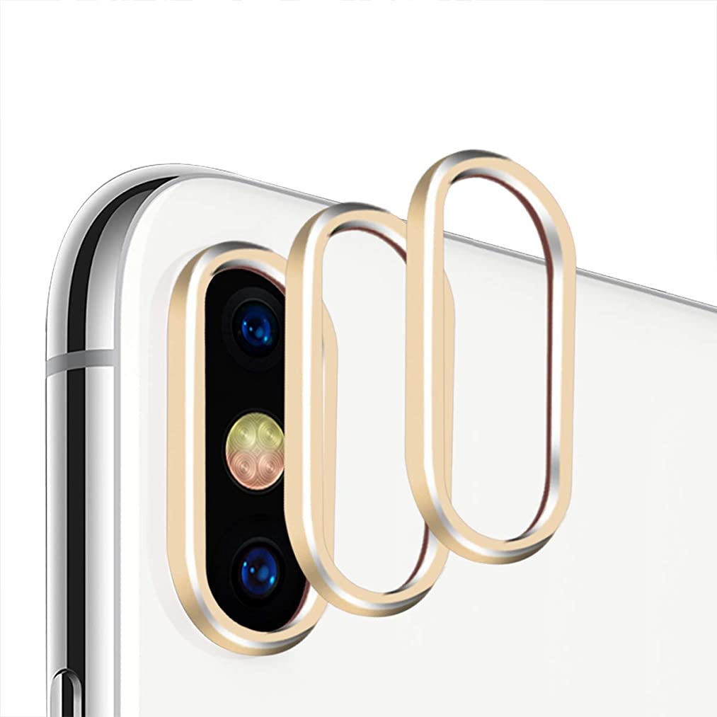 Casetego iPhone Xs MAX/XS Camera Lens Protector, [3 Pack] Aluminum Alloy Lens Protective Ring Circle Metal Camera Lens Protector for Apple iPhone Xs MAX/XS (Gold)