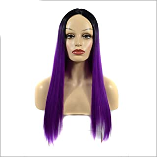 YESONEEP 女性のシルキーロングストレートパープル耐熱合成かつら前髪パーティードレスウィッグパーティーかつら (Color : Purple, サイズ : 60cm)