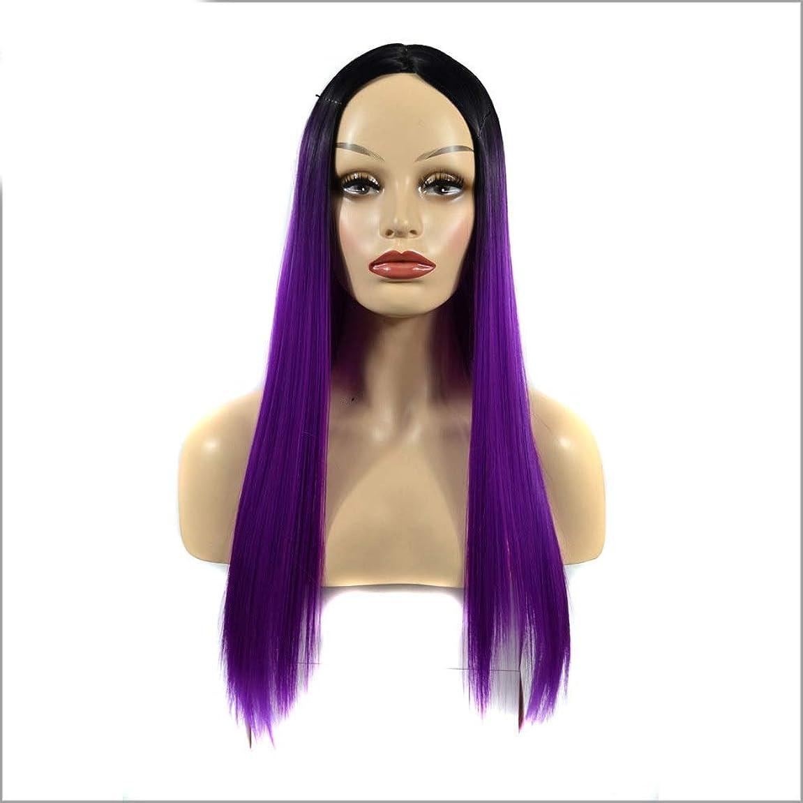 厚くするママ八百屋さんYESONEEP 女性のシルキーロングストレートパープル耐熱合成かつら前髪パーティードレスウィッグパーティーかつら (Color : Purple, サイズ : 60cm)