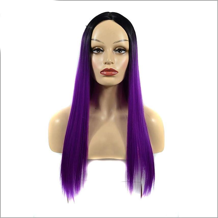 読書モジュールアトミックYrattary 女性のシルキーロングストレートパープル耐熱合成かつら前髪パーティードレスウィッグパーティーかつら (Color : Purple, サイズ : 60cm)