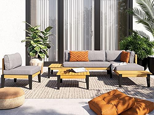 HOMIFAB Salon de Jardin 5 Places en Bois d'acacia Coussins Gris - Collection Emmy