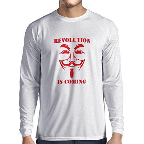 lepni.me Camiseta de Manga Larga para Hombre La Revolución se Acerca Hackers Anónimos Legión V para Vendetta (Medium Blanco Rojo)