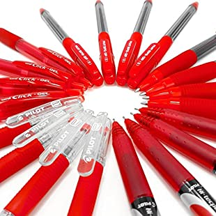 Assorted Clearance Bundle of 20 Pilot and Uni Ball Branded Pens - Red Ink