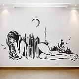 HFDHFH Mujer Abstracta calcomanía de Pared Equilibrio Arte Natural Arquitectura Vinilo Creativo Etiqueta de la Ventana habitación de niña salón decoración de Interiores Mural
