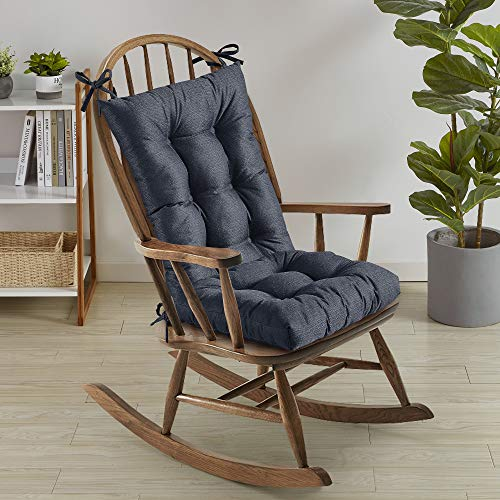 Sweet Home Collection Rocking Chair Cushion Premium Tufted Pads Non Skid Slip Backed Set of Upper and Lower with Ties, 21' X 17'/17' X 17', Navy Blue