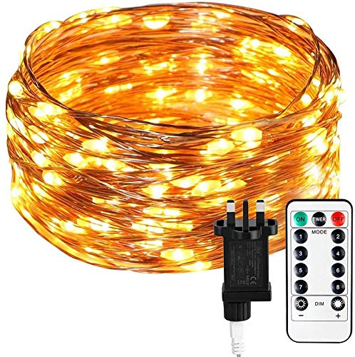 Koopower Outdoor Fairy Lights Main Powered, 100 LEDs 39 ft Fairy Lights Plug in Garden Lights 8 Mode Copper Wire String Lights [Remote & Timer] for Christmas Bedroom Fence Party Wedding(Warm White)