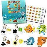Orinal en lugar de pañal con 4 pegatinas mágicas (sol, trébol, silla, huevo) + 4 pegatinas de animales favoritos + set de motivación acuario