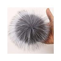 毛皮ポンポン15 16 cm Diyとキツネの毛皮のポンポンボールキャップバッグスカーフアクセサリー、天然スライバーフォックスの自然毛皮ポンポン