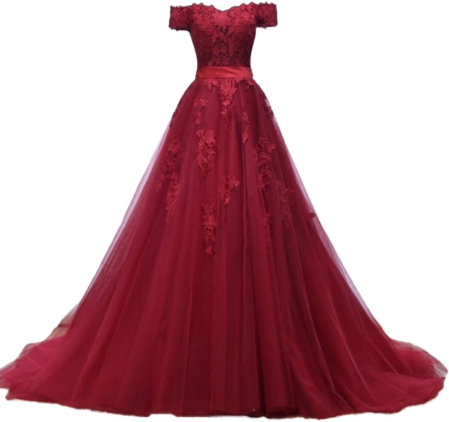 Wdress Elegant Ball Gown Prom Dresses Off Shoulder Lace Appliques Evening Gowns