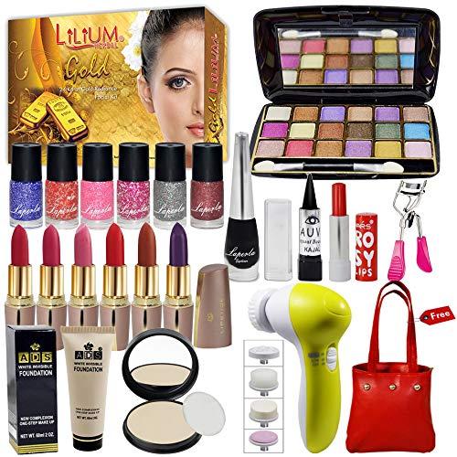 LA Perla Exclusive Beauty Combo Makeup Set With Gold Facial Kit, Massager & Handbag