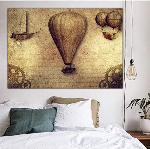 Navigator Feu Ballon À Air Chaud Tapisserie Moyen Âge Carte De Voyage Du Monde Gold Digger Pirate Home Decoration Couverture 150 * 200 Cm