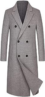BININBOX Abrigo de lana de doble cara cortavientos para hombre abrigo largo hasta la rodilla