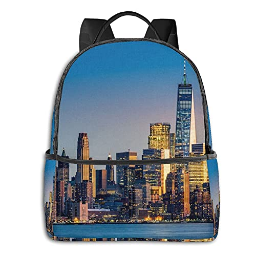 Zaino casual Beautiful City Sky Line Printed Fashion Backpacks Business And Travel Laptop Backpacks School Bags 14.5x12x5 In