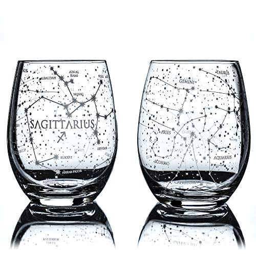 Greenline Goods Sagittarius Stemless Wine Glasses | Zodiac Sagittarius Set | Hand Etched 15 oz (Set of 2) - Astrology Sign Glassware