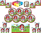 Farmhouse Fun Kids Birthday Party Supplies Platos Vasos Vasos Servilletas y Dos manteles Globos Gratis y Marco de fotos-16 Invitados