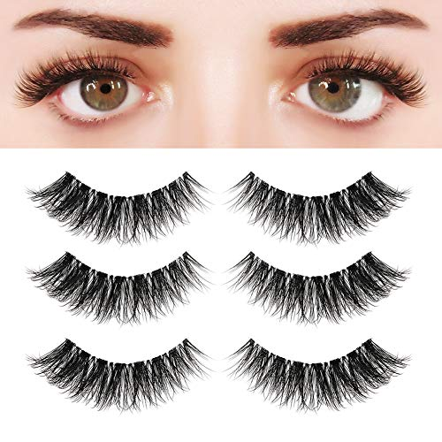 BEPHOLAN 3 Pairs Multi-layered Faux Mink Lashes, Fluffy Volume Lashes, Natural Look, 3D Layered Effect, Reusable, 100% Handmade & Cruelty-Free, Easy to Apply, XMZ92