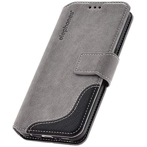 elephones® Handyhülle für Samsung Galaxy S8 Hülle - Kompatibel mit Galaxy S8 Handy-Tasche Schutzhülle Flip Case Grau