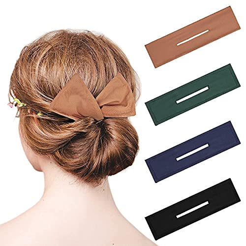 4 piezas para hacer nudos de pelo, nudos de flores para hacer moños, moños de verano, pinzas mágicas para mujeres y niñas, (verde, negro, caqui, cian)