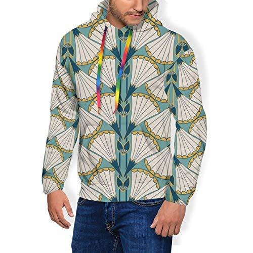 Men\'s Print Fashion Hoodie Art Deco Style Trumpet Padded Velvet Hoodie Sweatshirts Pullover