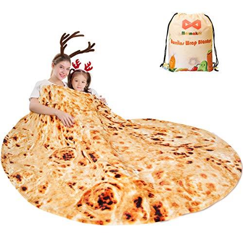 mermaker Burritos Tortilla-Decke 2.0 doppelseitig 180,3 cm für Erwachsene und Kinder, riesige lustige, realistische Lebensmittel-Überwurfdecke, 285 g/m², weiche Flanell-Taco-Decke