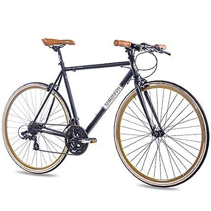 CHRISSON '28Pulgadas Urban Bicicleta de Carreras Vintage Road 3.0con 21g Shimano A070Retro Negro Mate