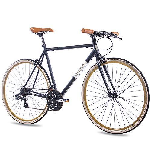CHRISSON 28 Zoll Retro Rennrad Vintage Bike - Vintage Road 3.0 schwarz 52 cm mit 21 Gang Shimano Tourney Schaltung, Urban Old School Fahrrad für Damen und Herren