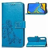 XYAL0002001 Xingyue Aile Covers y Fundas para Samsung Note 9, Funda de Cuero Telero de la Cartera de la Funda para Galaxy S20 Ultra S20 Plus A01 A21 (Color : Blue Leaf, Material : A21 SM A215U)
