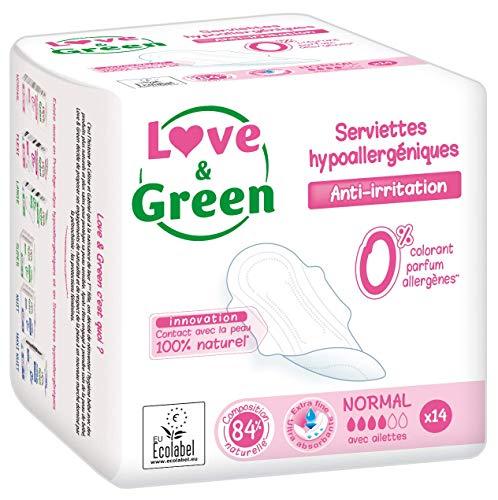 Love & Green Serviettes Hypoallergéniques Normal 0% 14 Pièces