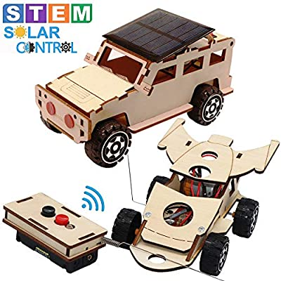 CYOEST 2-in-1 Science STEM Model Cars Kits to Build - Solar Power Off-Road Car & Remote Control Racer Toy with Electric Motor,Wooden Science Experiment Educational Engineering Kits