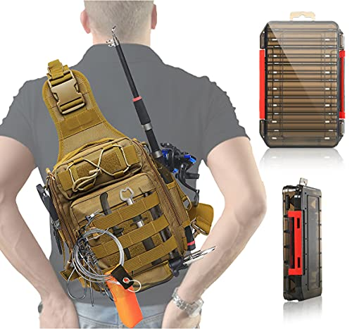 Aertiavty Compact Fishing Tackle Bag, Fishing Bag with Tackle Box and Rod Holder Outdoor Sport Fishing Backpack Fishing Gift, Fishing Gear Bag