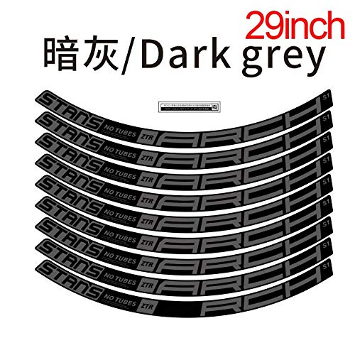 Bicycle Stikers Mountain Wheel Set Stikers MTB Rim Decal Bicycle Accessories Label decoration (Color : 29er Dark grey)