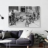 Póster de fotografía de ciclismo de Francia, imágenes artísticas de pared vintage, pintura en lienzo de bicicleta en blanco y negro para la decoración del hogar de la sala de estar-60x80cm-sin marco