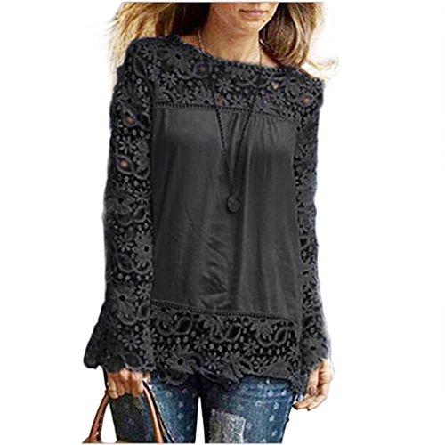 MRULIC Frauen Casual Basic Sommer T-Shirt Oberteile Kurzarm Damen Schönes Geschenk für Mama(S2-Schwarz,EU-48/CN-5XL)