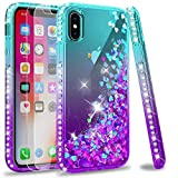 LeYi Compatible for iPhone X Case, iPhone Xs Case with Tempered Glass Screen Protector [2 Pack] for Girls Women, Glitter Liquid Cute Clear Phone Case for iPhone X/iPhone Xs/iPhone 10, Teal/Purple