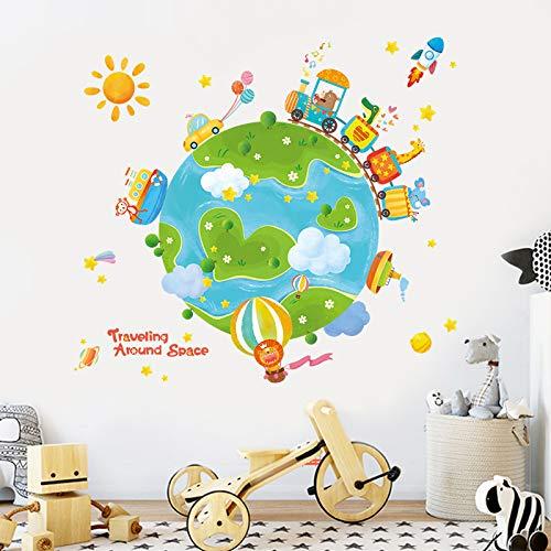 Kinderkamer Decoratie Cartoon Creatieve Reizen Rond De Wereld Muurstickers Kleuterschool Babykamer Muurlay-out Stickers