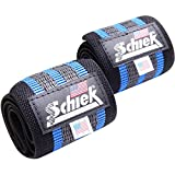 Schiek Heavy Duty Rubber Reinforced Wrist Wraps (Blue) - 12'