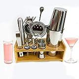 Yinaa Kit Cocteleria Impermeable a Prueba de Herrumbre Duradero Conjunto Coctelera Juego Kit de Coctelería Bartender Acero Inoxidable Set de 18 Piezas Hall Cup