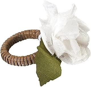 Mud Pie 4951022 Hydrangea Napkin Ring, White