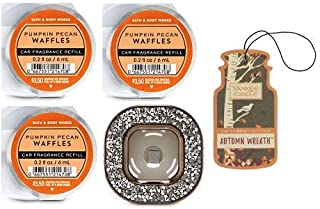 Bath and Body Works Gemstone Vent Clip Car Fragrance Holder and 3 Scentportable Pumpkin Pecan Waffles. Paperboard Car Fragrance Autumn Wreath.