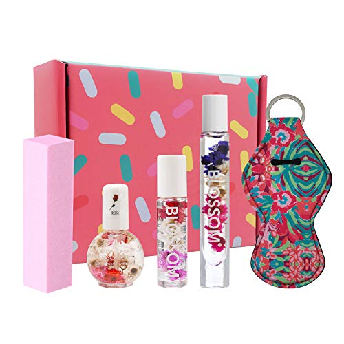 Blossom Lip Gloss For Teens with Flower Lip Gloss, Honey and Jasmin Perfume for Teenage Girls, Rose Nail Cuticle Oil and Nail File-Great Holiday Lip Gloss Set For Teens