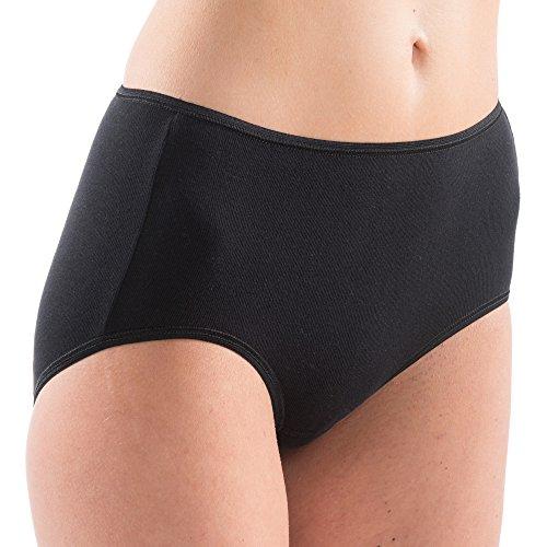 HERMKO 1150 4er Pack Damen Maxi-Slip mit elastischen Abschlüssen aus 100% Bio-Baumwolle, Farbe:schwarz, Größe:44/46 (L)