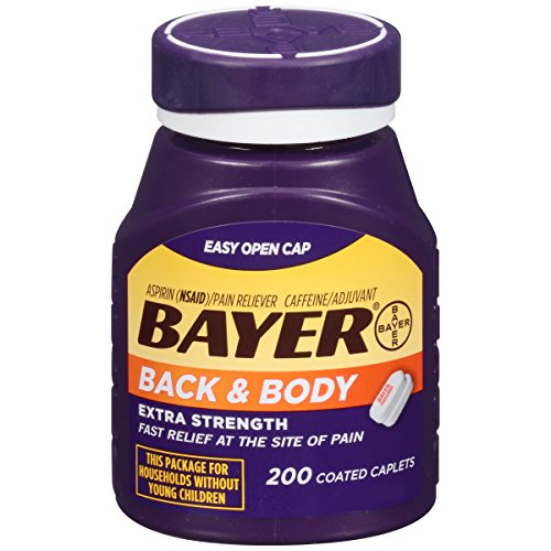 Bayer Back & Body Aspirin 500mg Coated Tablets, Pain Reliever with 32.5mg Caffeine, 200 Count