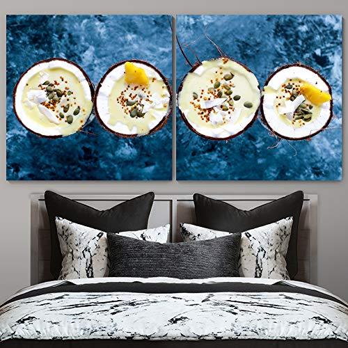 """bestdeal depot Dessert Servings Food Photography 2 Panel Canvas Wall Art Prints for Living Room,Bedroom Ready to Hang - 16""""x16"""" x 2 Panels"""