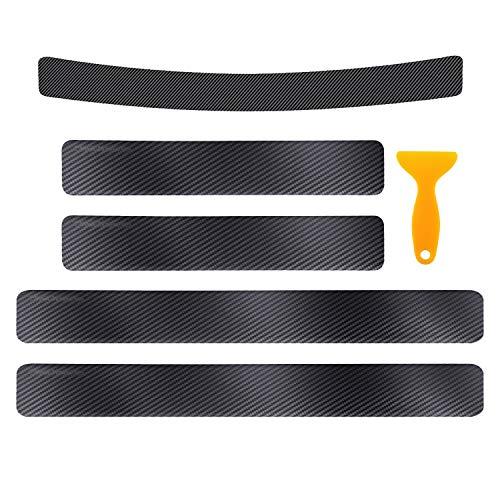 5pcs Anti Scratch Stickers, Universal 4D Carbon Fiber Door Sill Guard Scuff Plate Rear Bumper Protectors for Cars