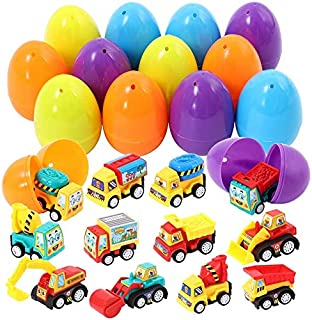 Acekid Easter Eggs Filled with Pull Back Vehicle, 12pcs Kids Cartoon Construction Cars Set, Easter Theme Party Favor, East...