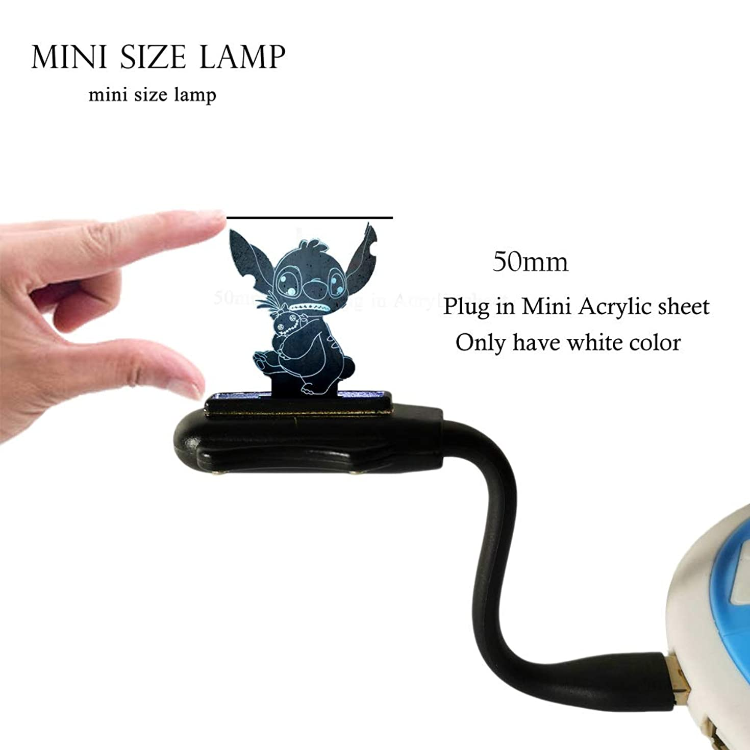 3D LED Night Light for Kid Baby White Color lilo&Stitch Hold Doll Mini USB Port Charge Flexible Reading lamp for Laptop Notebook PC Power Bank