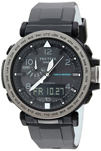 Casio Men's 'PRO TREK' Solar Powered Silicone Watch, Color:Black (Model:...
