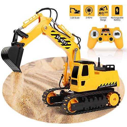 RC Excavator 2.4Ghz Remote Control Tractor Toy Full Functional 1/26 Construction Vehicles Truck with Rechargeable Battery Simulated Sounds Sand Digger Kids Toys Hobby Gifts for Boys Girls Toddlers
